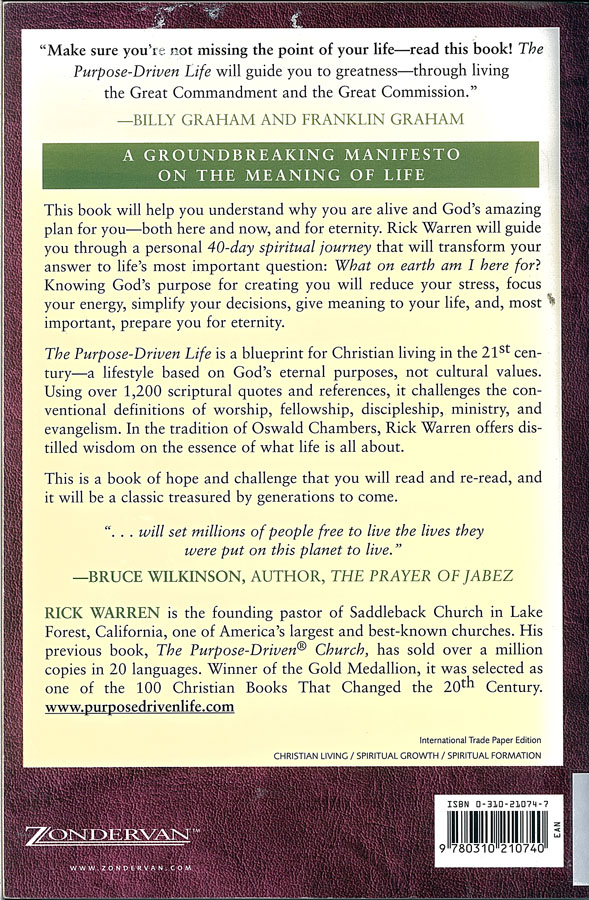 purpose driven church book review The purpose driven life – book review  critique of the 'seeker sensitive, purpose driven' church method rick warren promotes contemplative prayer.