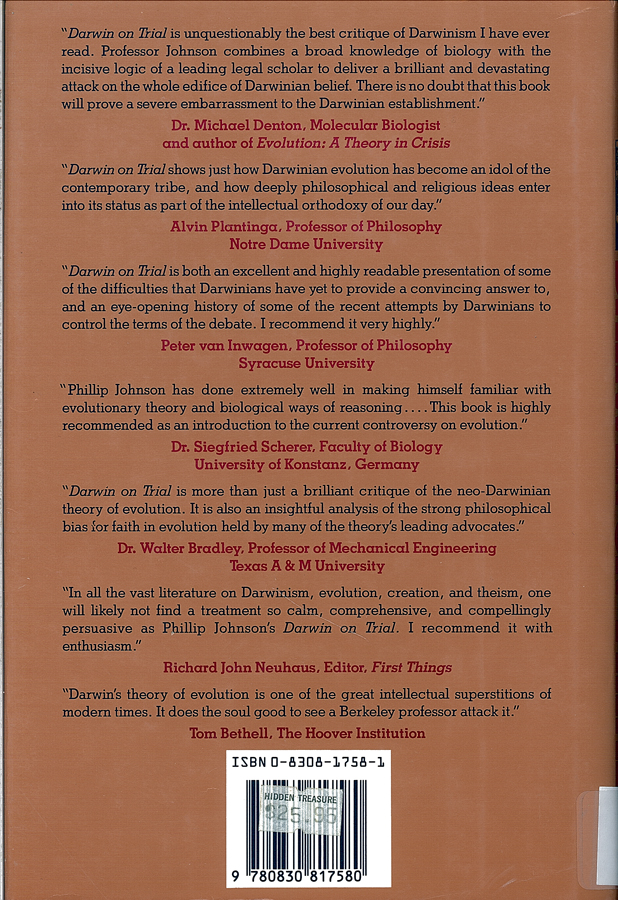 Picture of the back cover of the book entitled Darwin On Trial.