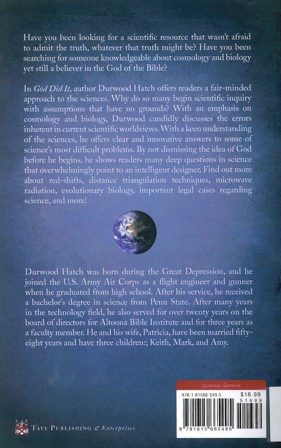 Picture of the back cover of the book entitled God Did It.
