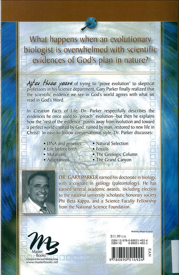 Picture of the back cover of the book entitled Creation Facts of Life.