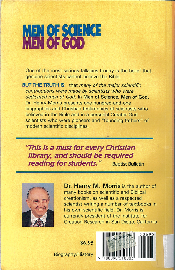 Picture of the back cover of the book entitled Men of Science Men of God.