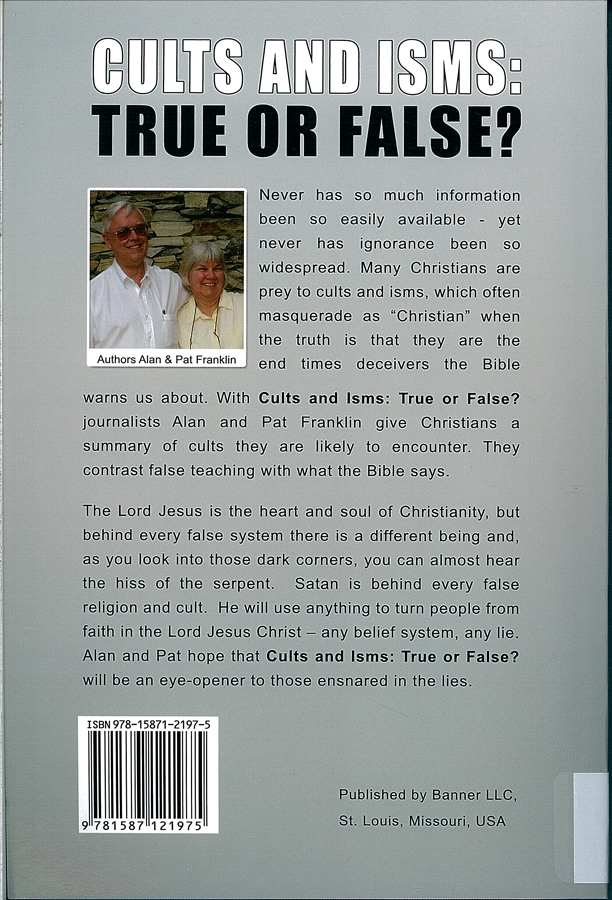 Picture of the back cover of the book entitled Cults and Isms.