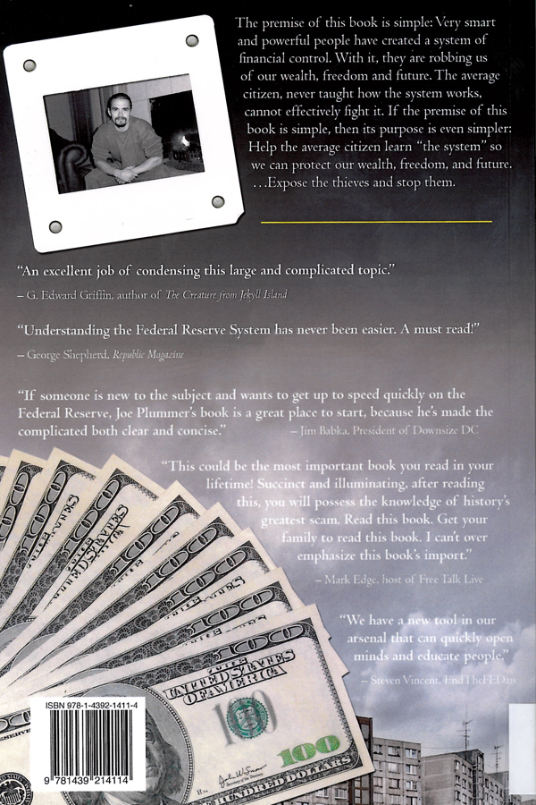 Picture of the back cover of the book entitled Dishonest Money: Financing the Road to Ruin.