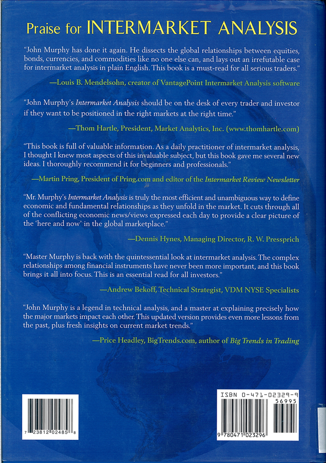 Picture of the back cover of the book entitled Intermarket Analysis: Profiting from Global Market Relationships.