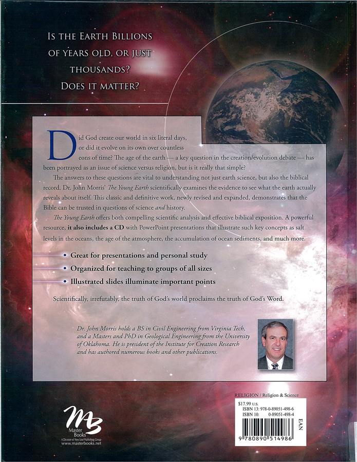 Picture of the back cover of the book entitled The Young Earth: The Real History of the Earth — Past, Present and Future.