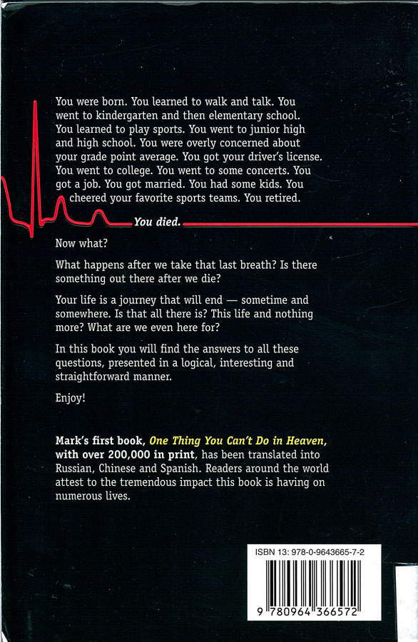 Picture of the back cover of the book entitled One Heartbeat Away: Your Journey into Eternity.