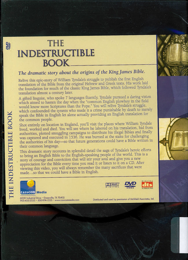 Picture of the back cover of the DVD entitled The Indestructible Book.