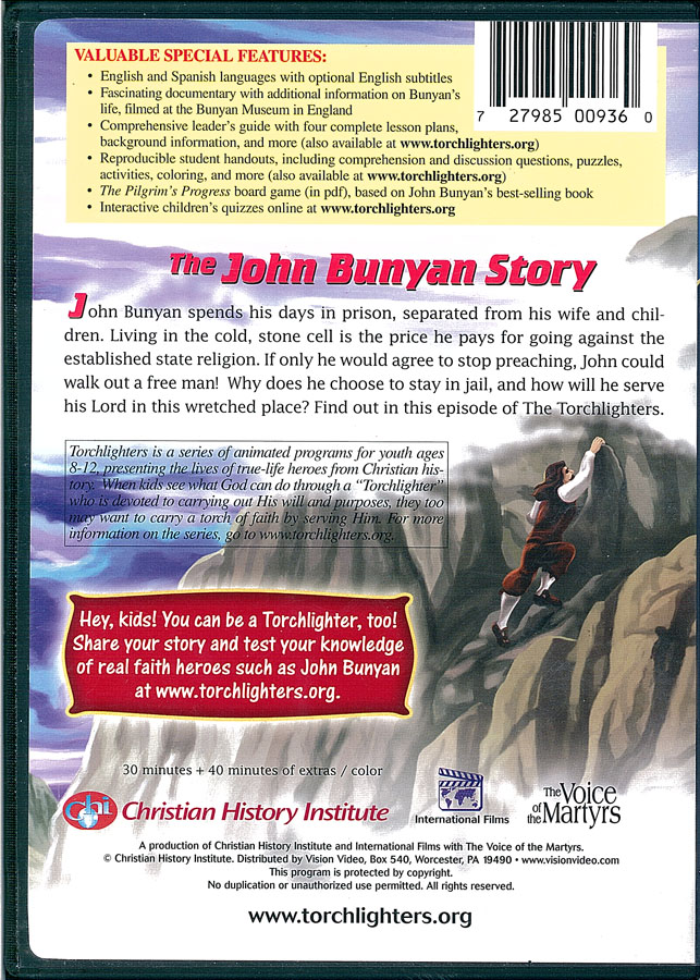 Picture of the back cover of the DVD entitled The John Bunyan Story.