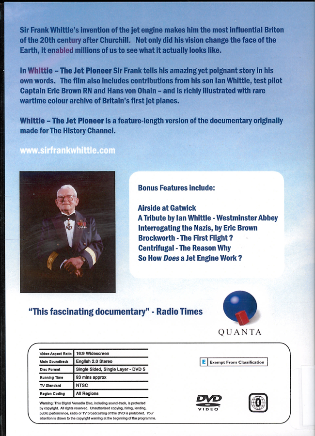 Picture of the back cover of the DVD entitled Whittle - The Jet Pioneer.