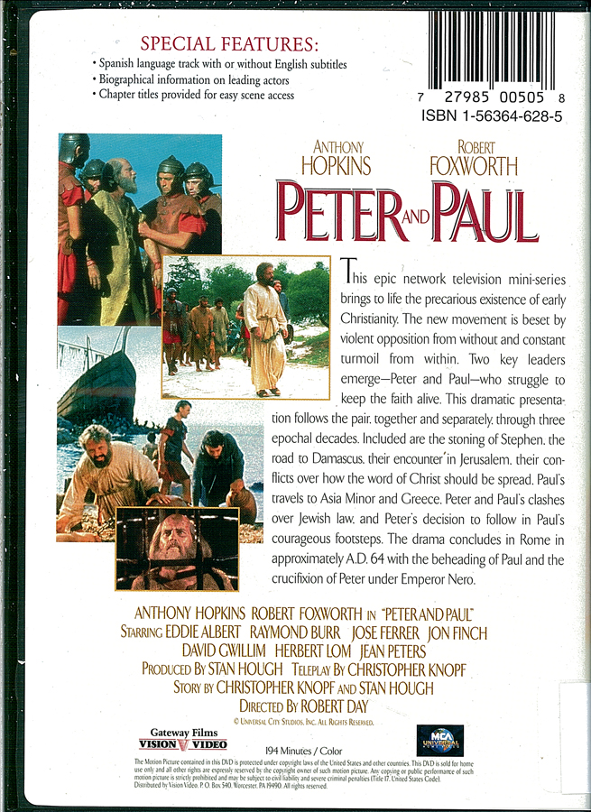 Picture of the back cover of the DVD entitled Peter and Paul.