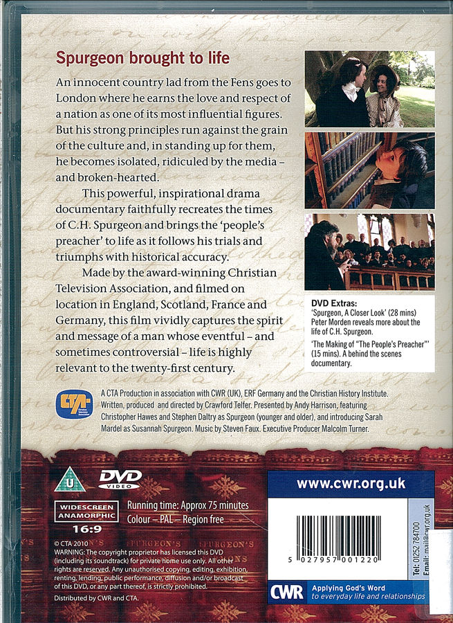 Picture of the back cover of the DVD entitled The Peoples Preacher: C. H. Spurgeon.