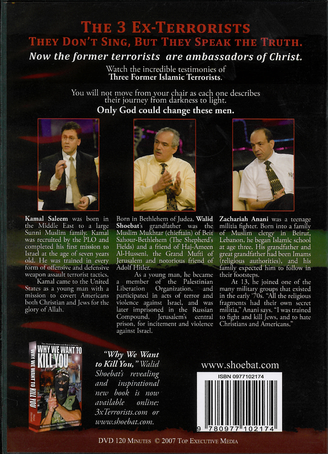 Picture of the back cover of the DVD entitled The 3 Ex-Terrorists Now Ambassadors For Christ.