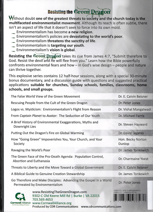 Picture of the back cover of the DVD entitled Resisting the Green Dragon: Dominion, Not Death.