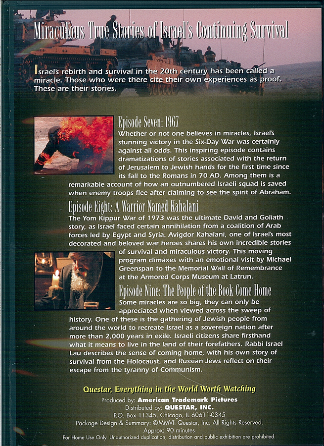 Picture of the back cover of the DVD entitled Against All Odds Israel Survives Volume 3.