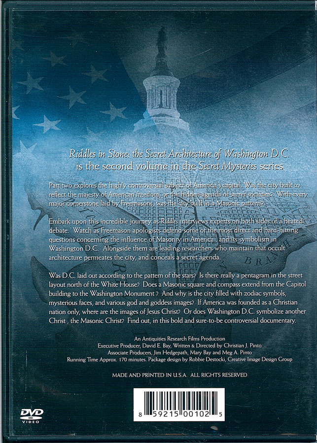 Picture of the back cover of the DVD entitled Riddles in Stone: The Secret Architecture of Washington D.C..