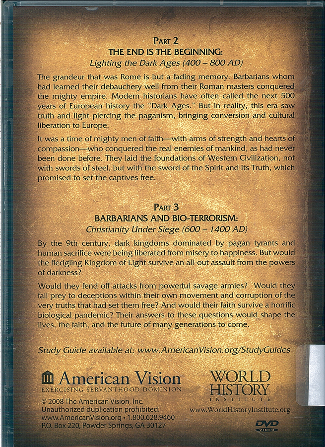 Picture of the back cover of the DVD entitled From Terror to Triumph Part 2 and Part 3.