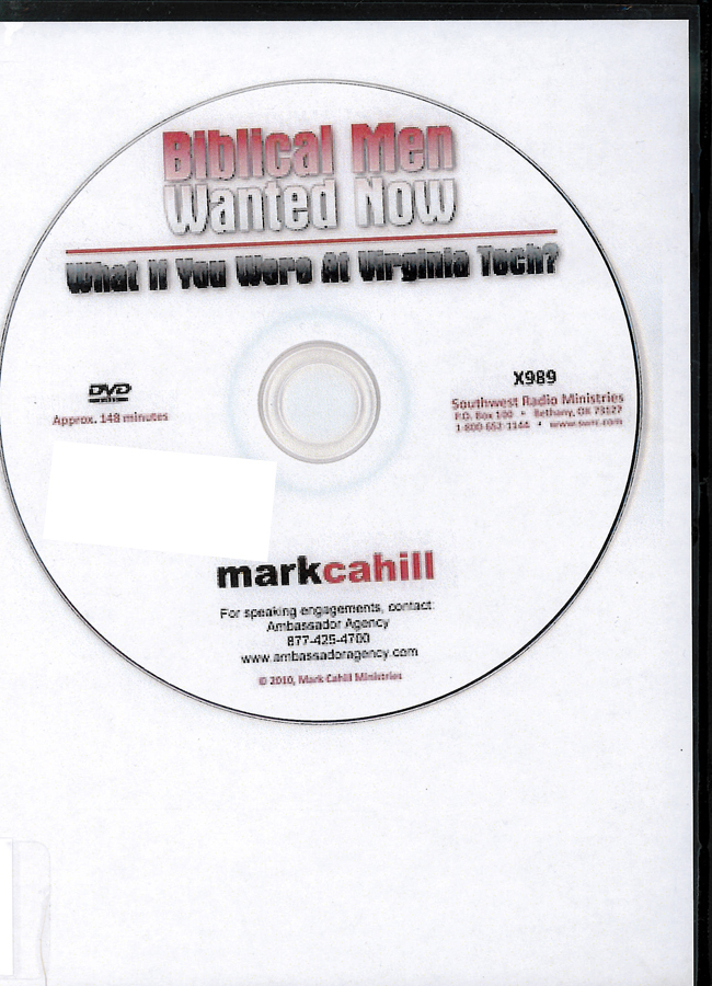 Picture of the front cover of the DVD entitled Biblical Men Wanted Now.
