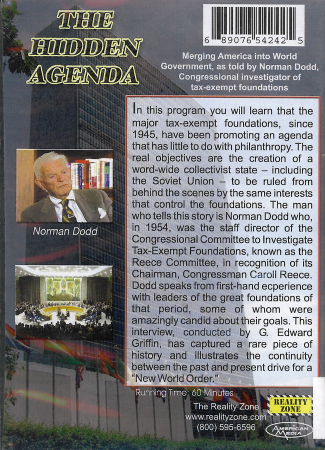 Picture of the back cover of the DVD entitled The Hidden Agenda.