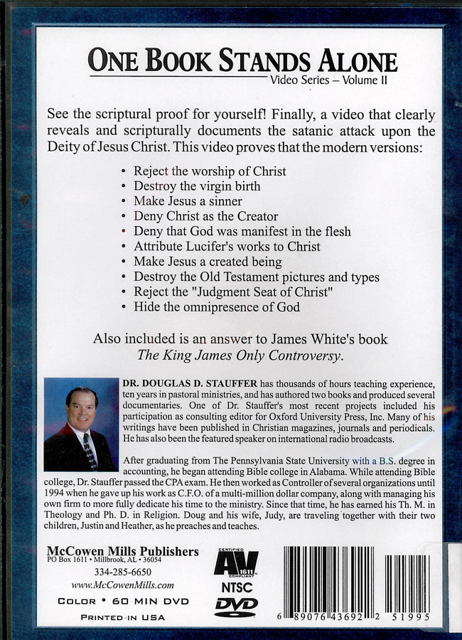 Picture of the back cover of the DVD entitled One Book Stands Alone Volume 2: The Attack on the Deity of Jesus Christ.