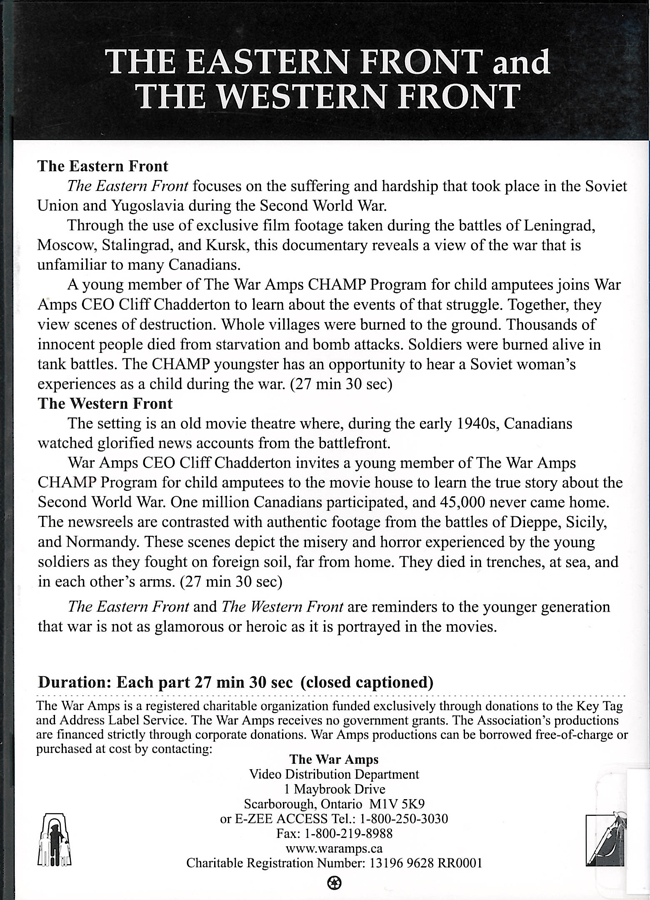 Picture of the back cover of the DVD entitled The Eastern Front and The Western Front.