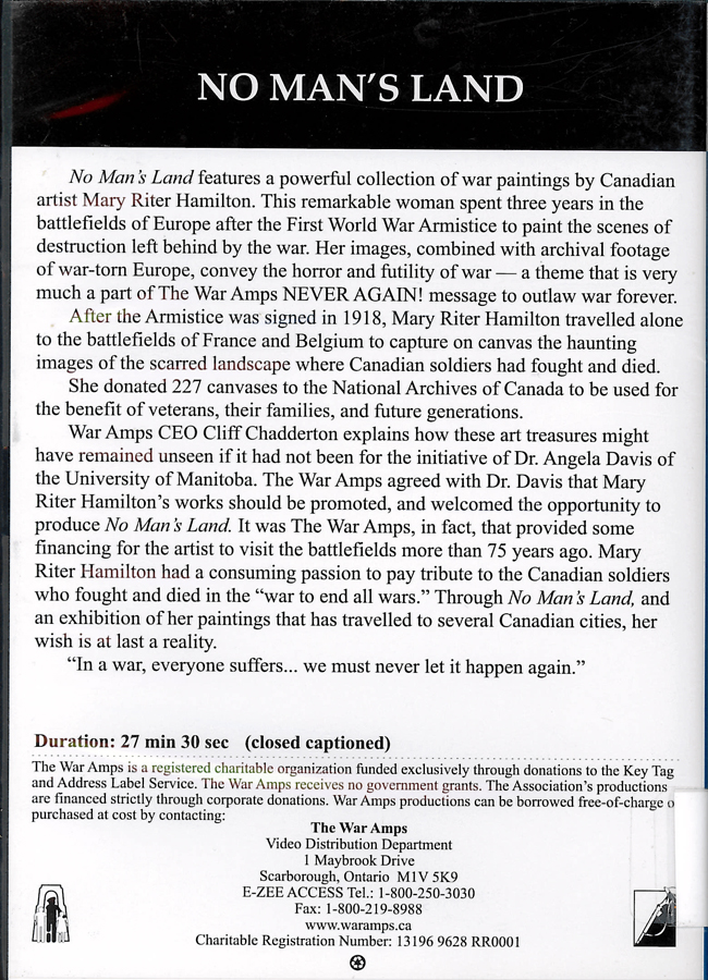 Picture of the back cover of the DVD entitled No Man's Land.