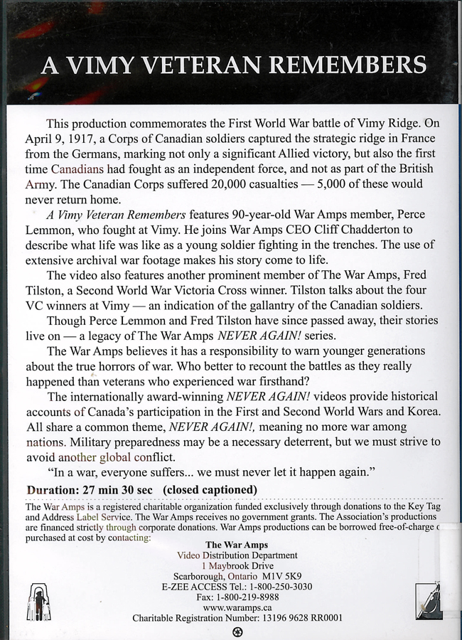 Picture of the back cover of the DVD entitled A Vimy Veteran Remembers.