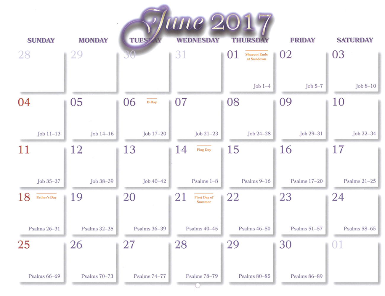 2016 Prophecy Calendar: June - Calendar