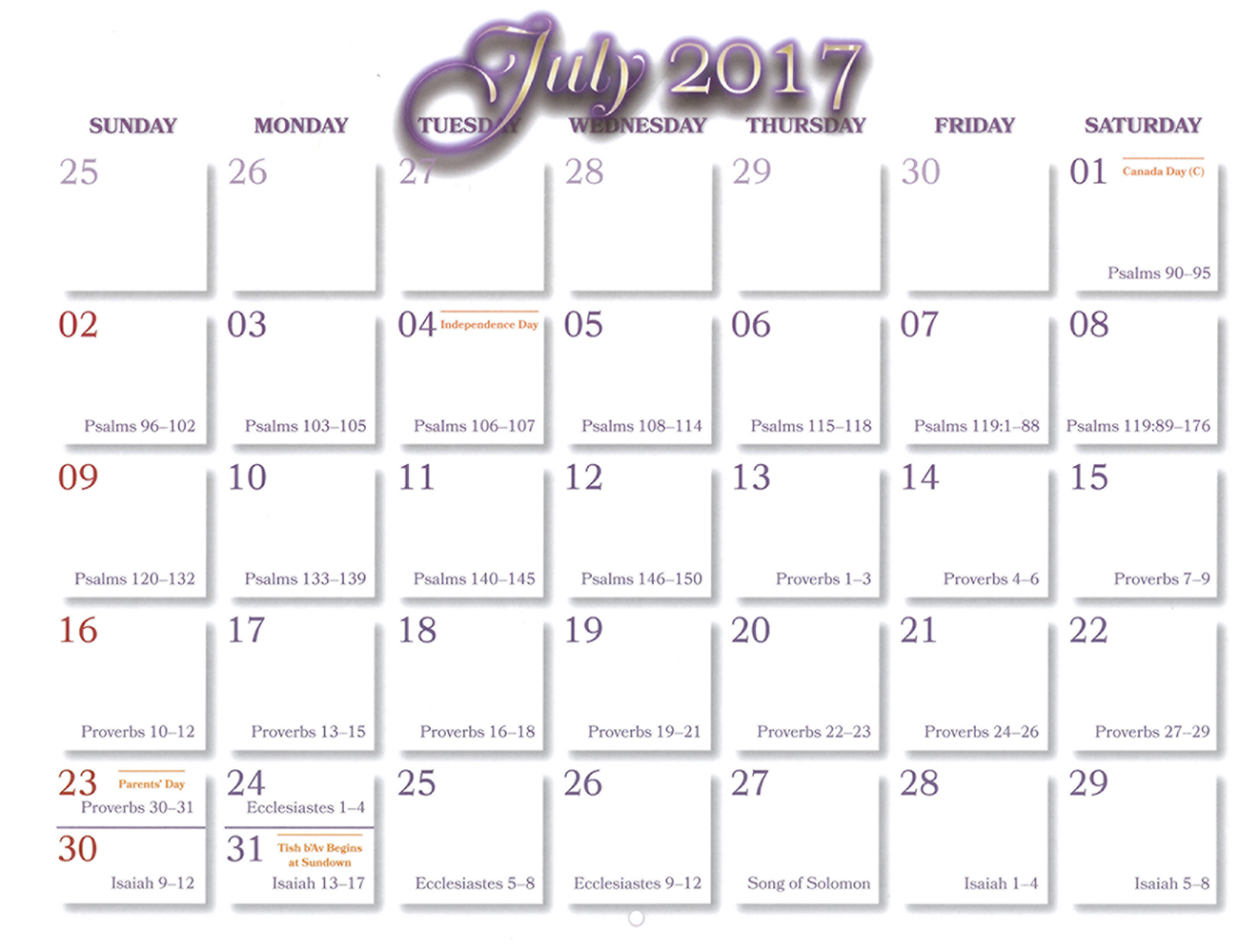 2016 Prophecy Calendar: July - Calendar