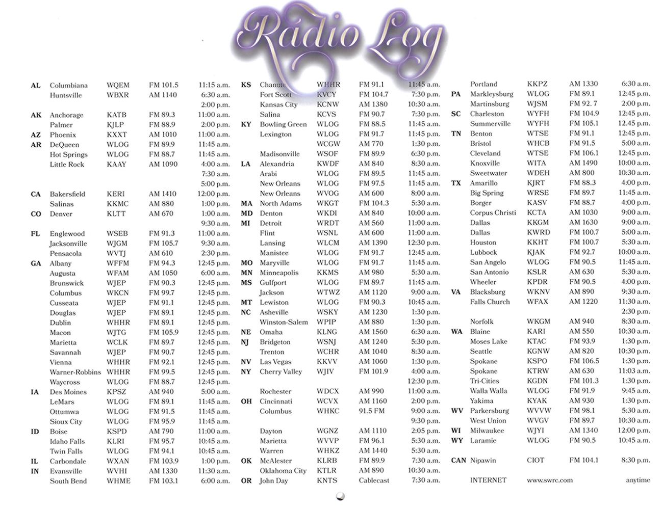 2016 Prophecy Calendar: Radio Log
