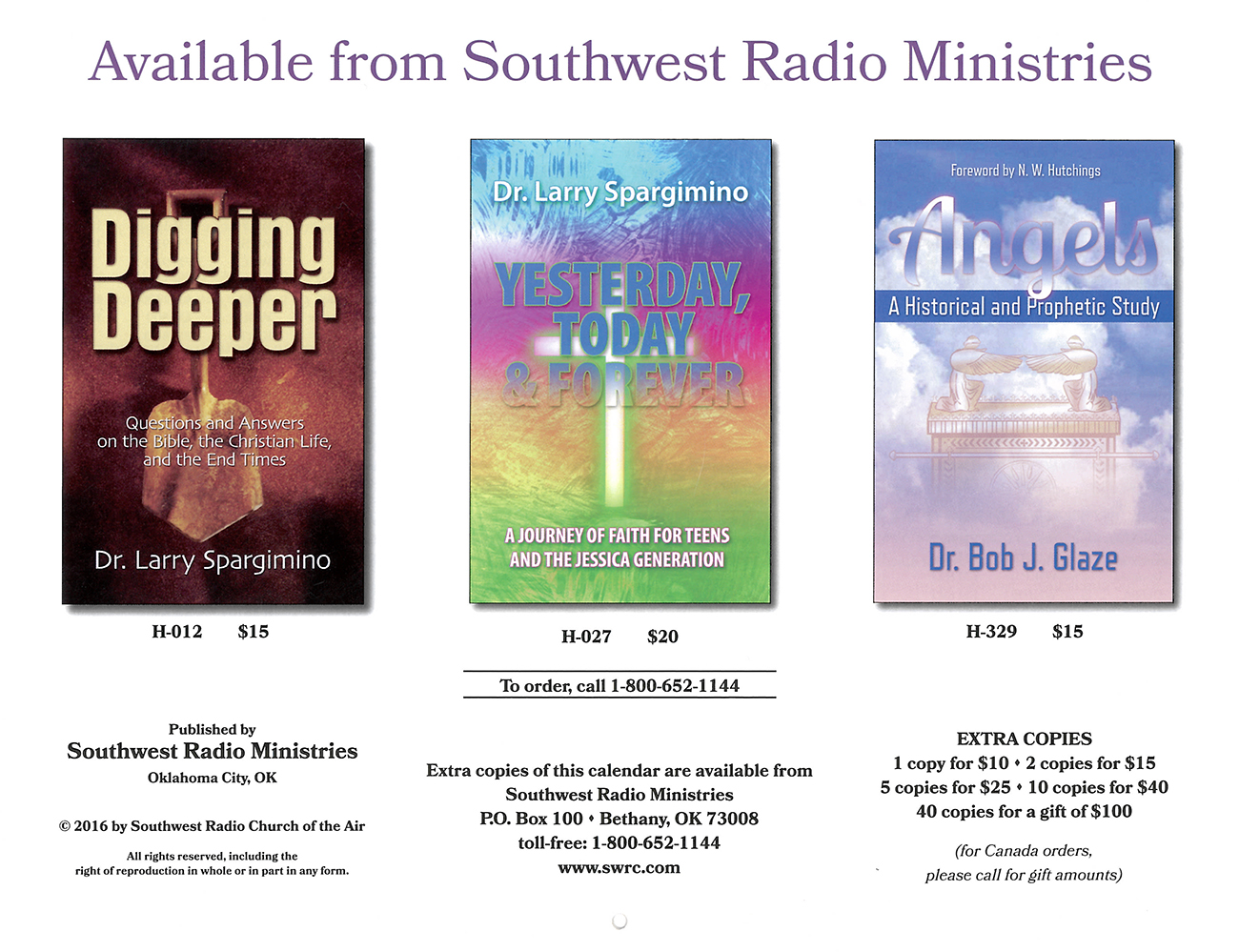 2016 Prophecy Calendar: Available from Southwest Ministries