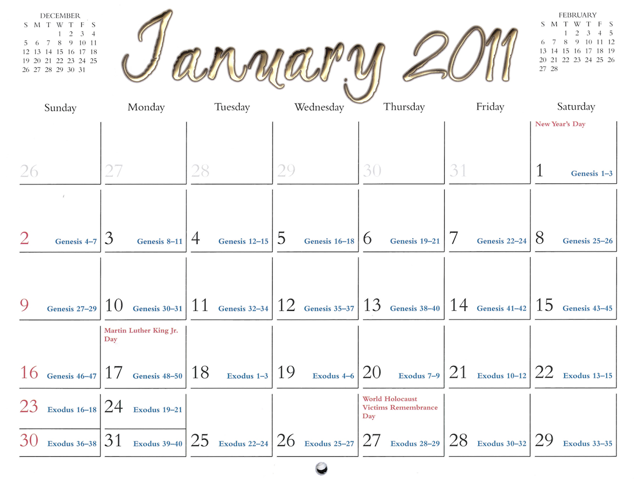2011 Prophecy Calendar: January - Prophecies of Moses