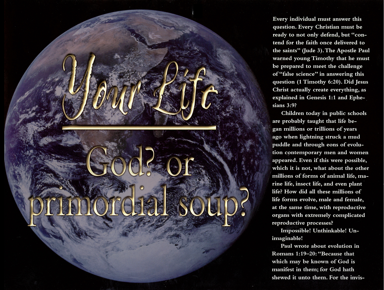 2011 Prophecy Calendar: Your Life — God? or Primordial soup?