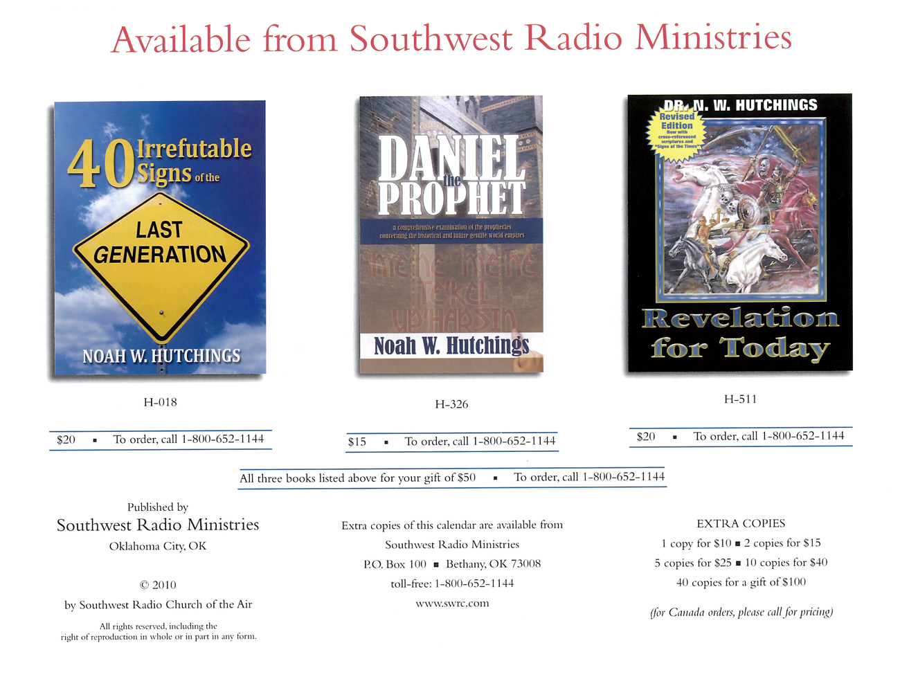 2011 Prophecy Calendar: Available from Southwest Ministries