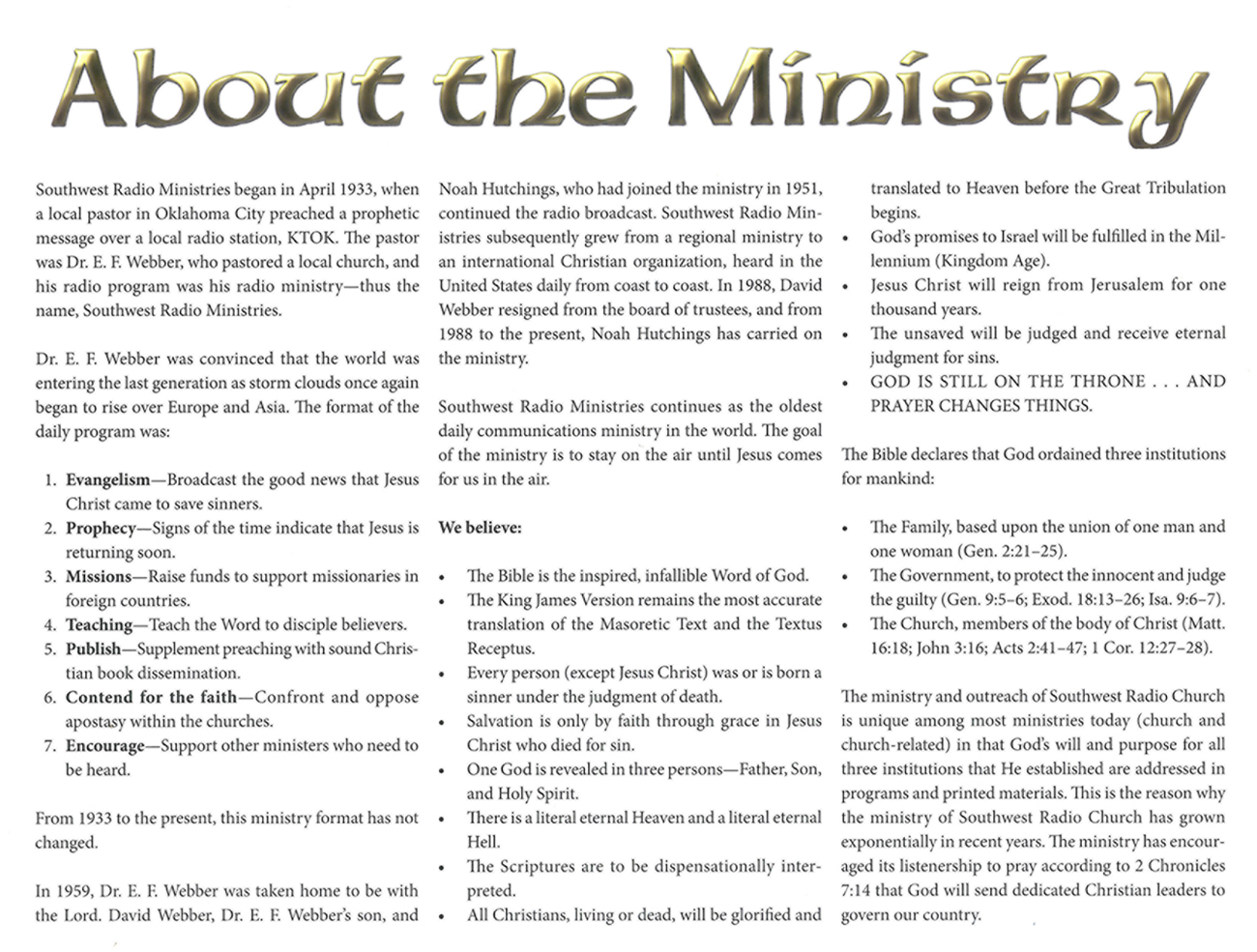 Inside Cover: 2013 Prophecy Calendar: About the Ministry