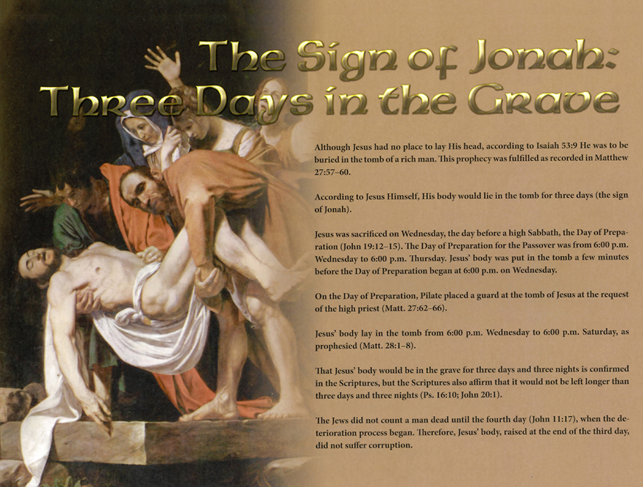 2013 Prophecy Calendar: August - The Sign of Jonah: Three Days in the Grave