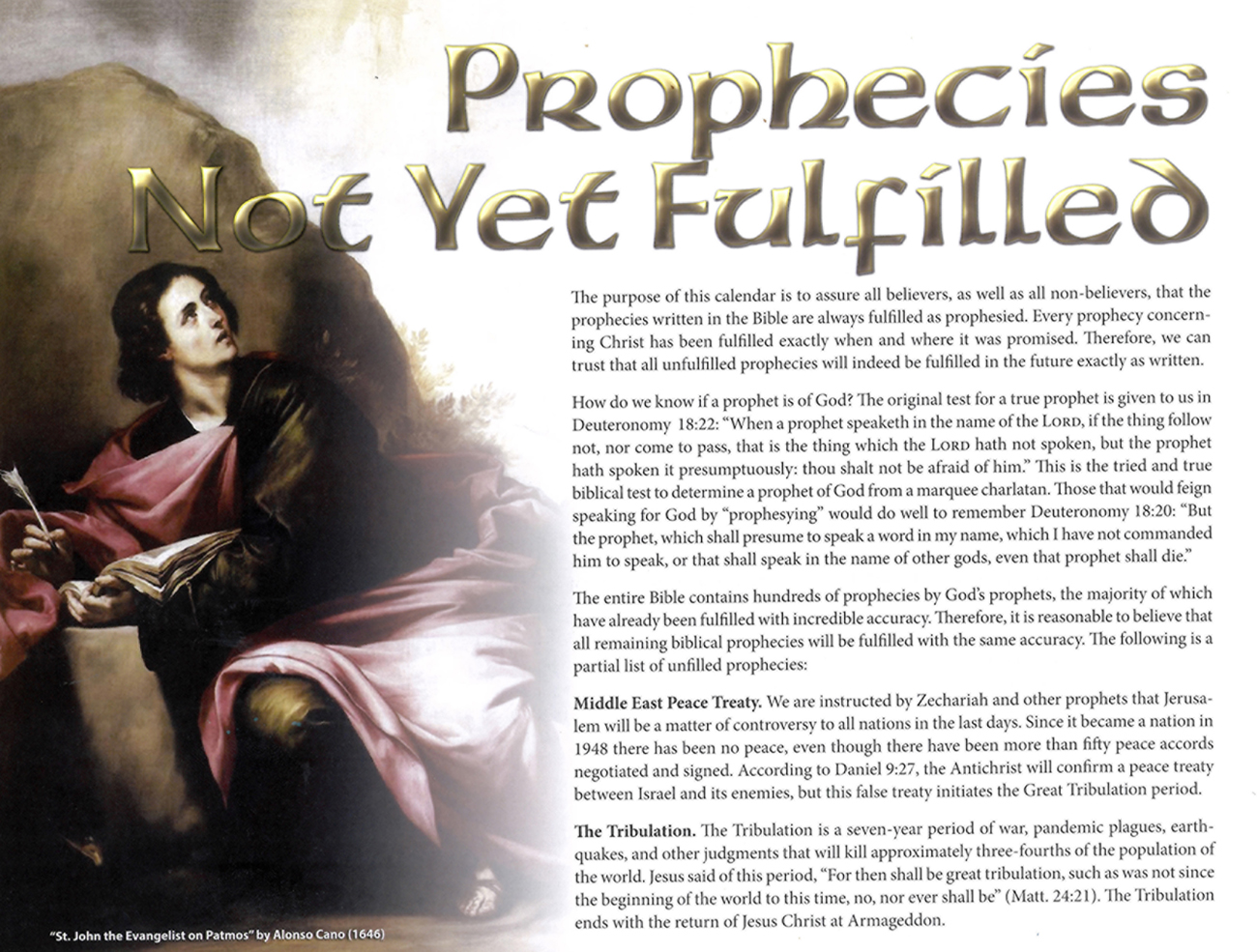 2013 Prophecy Calendar: Prophecies Not Yet Fulfilled