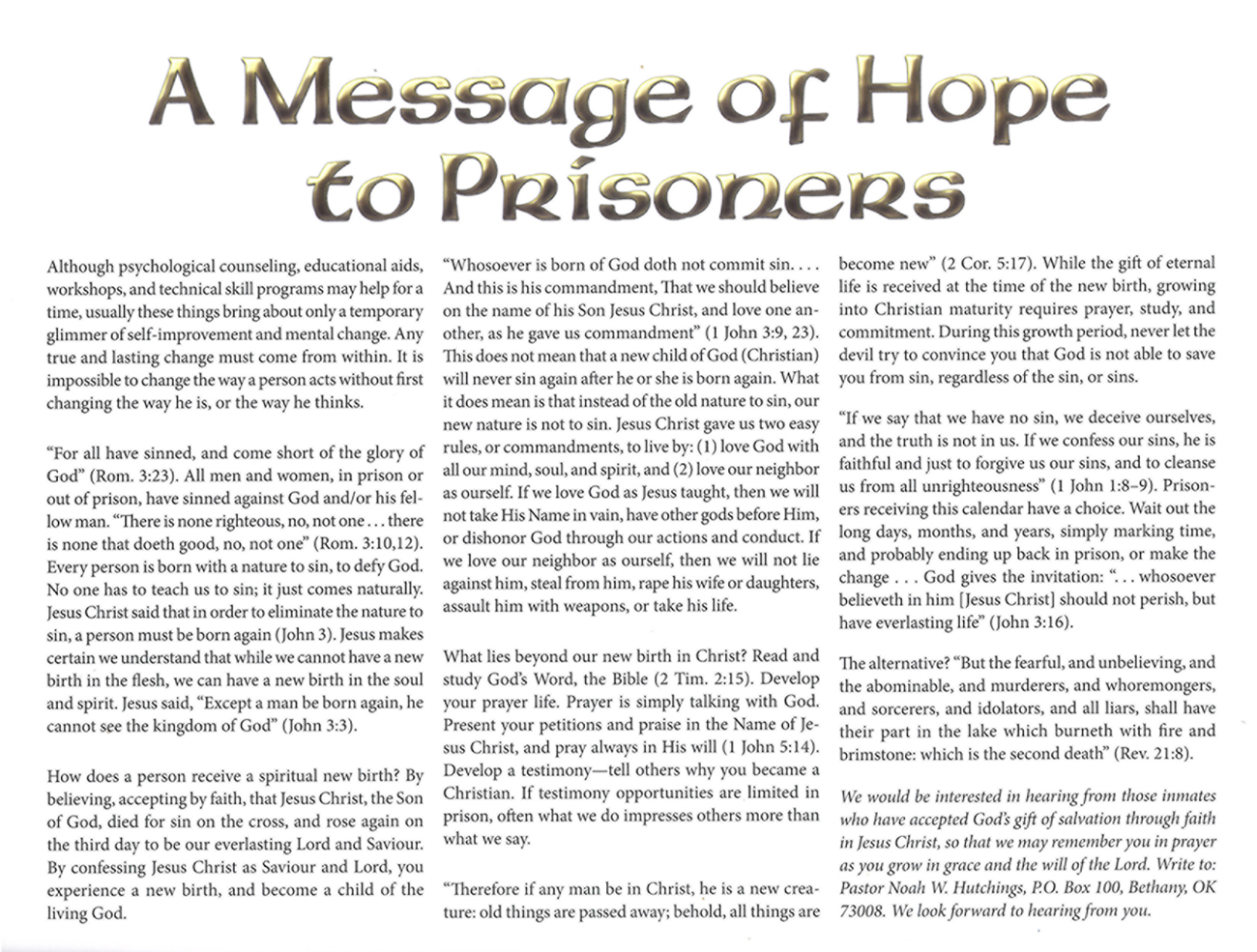 2013 Prophecy Calendar: A Message of Hope to Prisoners