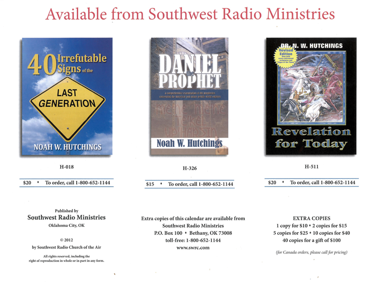 2013 Prophecy Calendar: Available from Southwest Ministries