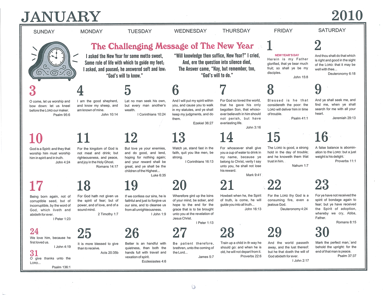 January: 2010 The Peoples Gospel Hour Calendar