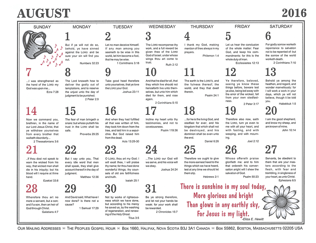 August: 2016 The Peoples Gospel Hour Calendar