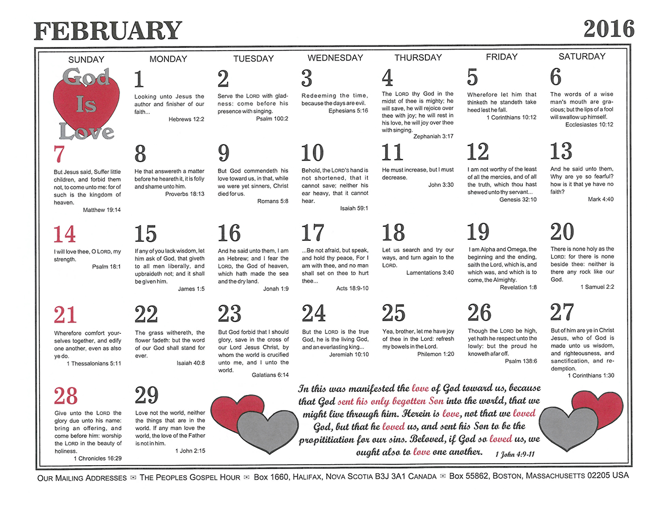 February: 2016 The Peoples Gospel Hour Calendar