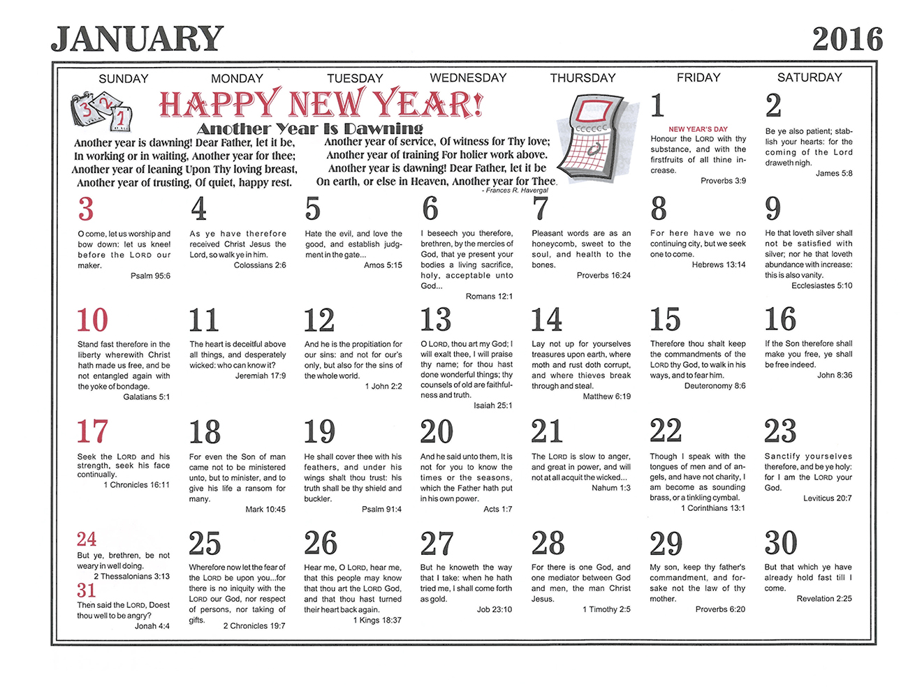 January: 2016 The Peoples Gospel Hour Calendar