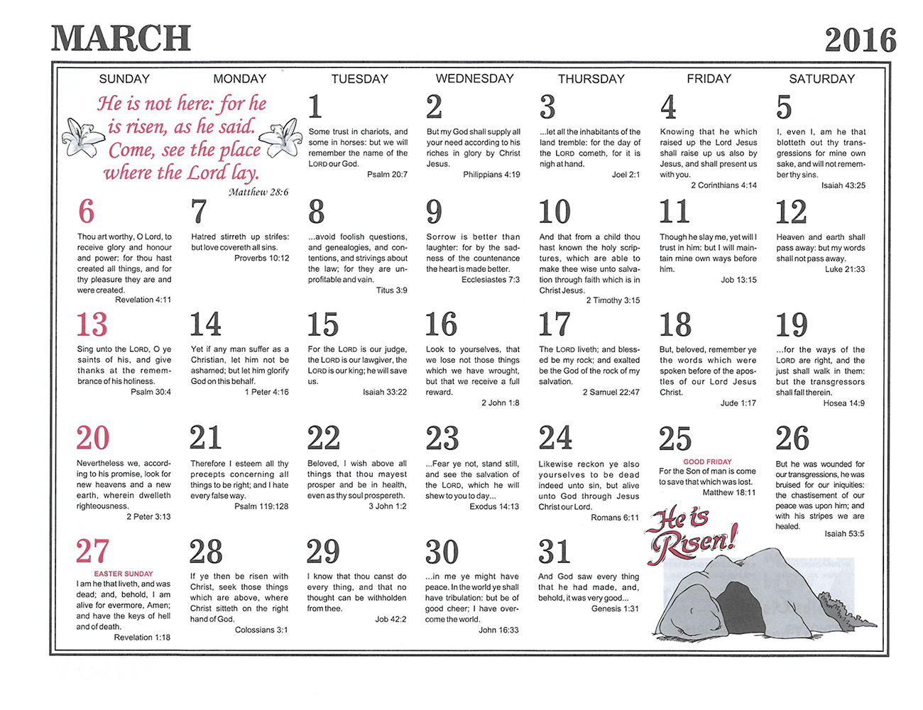 March: 2016 The Peoples Gospel Hour Calendar