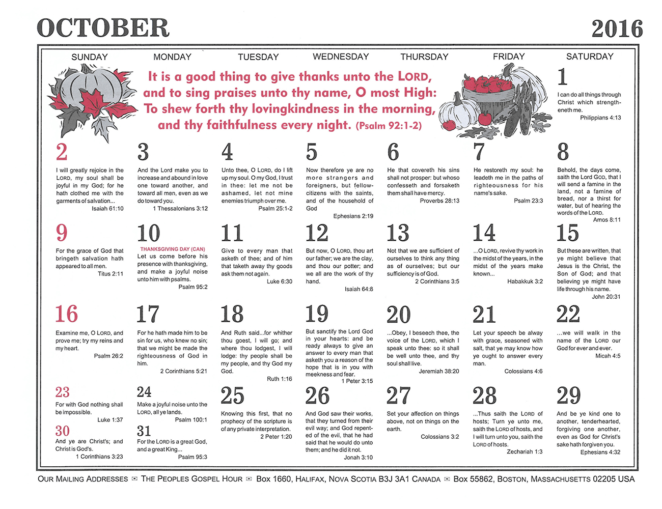 October: 2016 The Peoples Gospel Hour Calendar