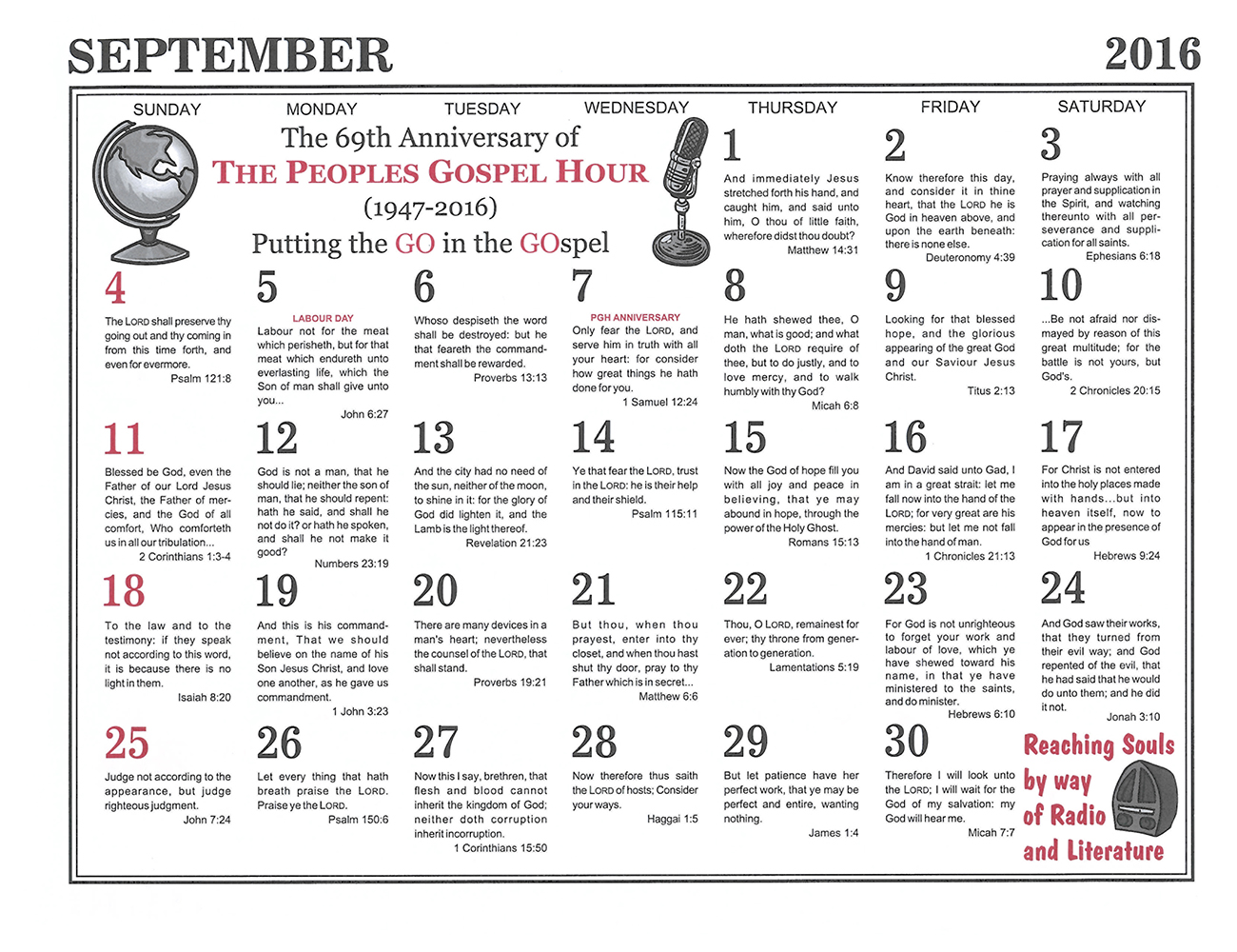 September: 2016 The Peoples Gospel Hour Calendar