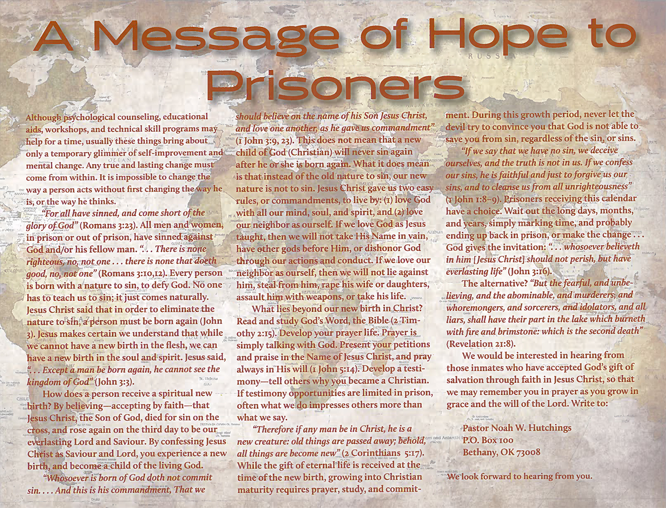 2015 Prophecy Calendar: A Message of Hope to Prisoners