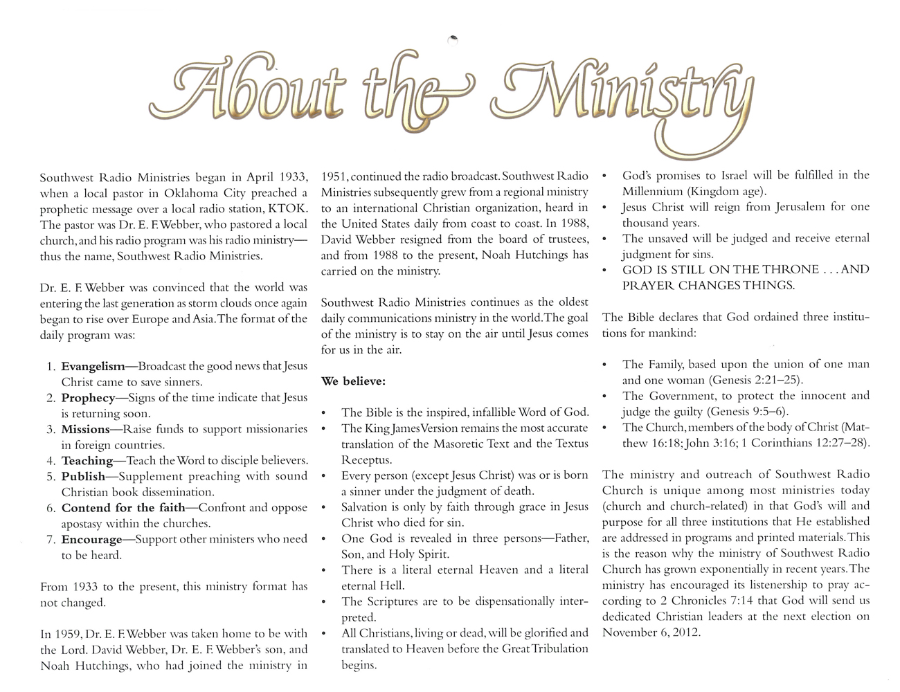 Inside Cover: 2012 Prophecy Calendar: About the Ministry