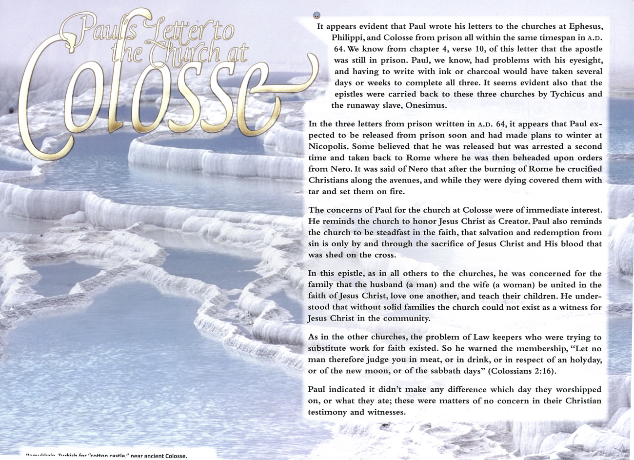 2012 Prophecy Calendar: July - Paul's Letter to the Church at Colosse