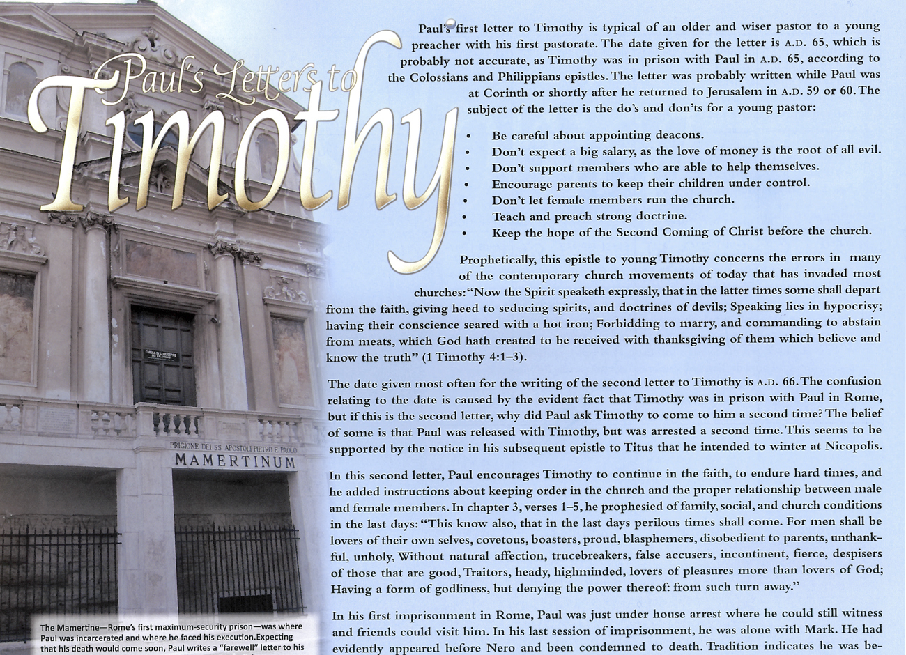 2012 Prophecy Calendar: October - Paul's Letter to Timothy