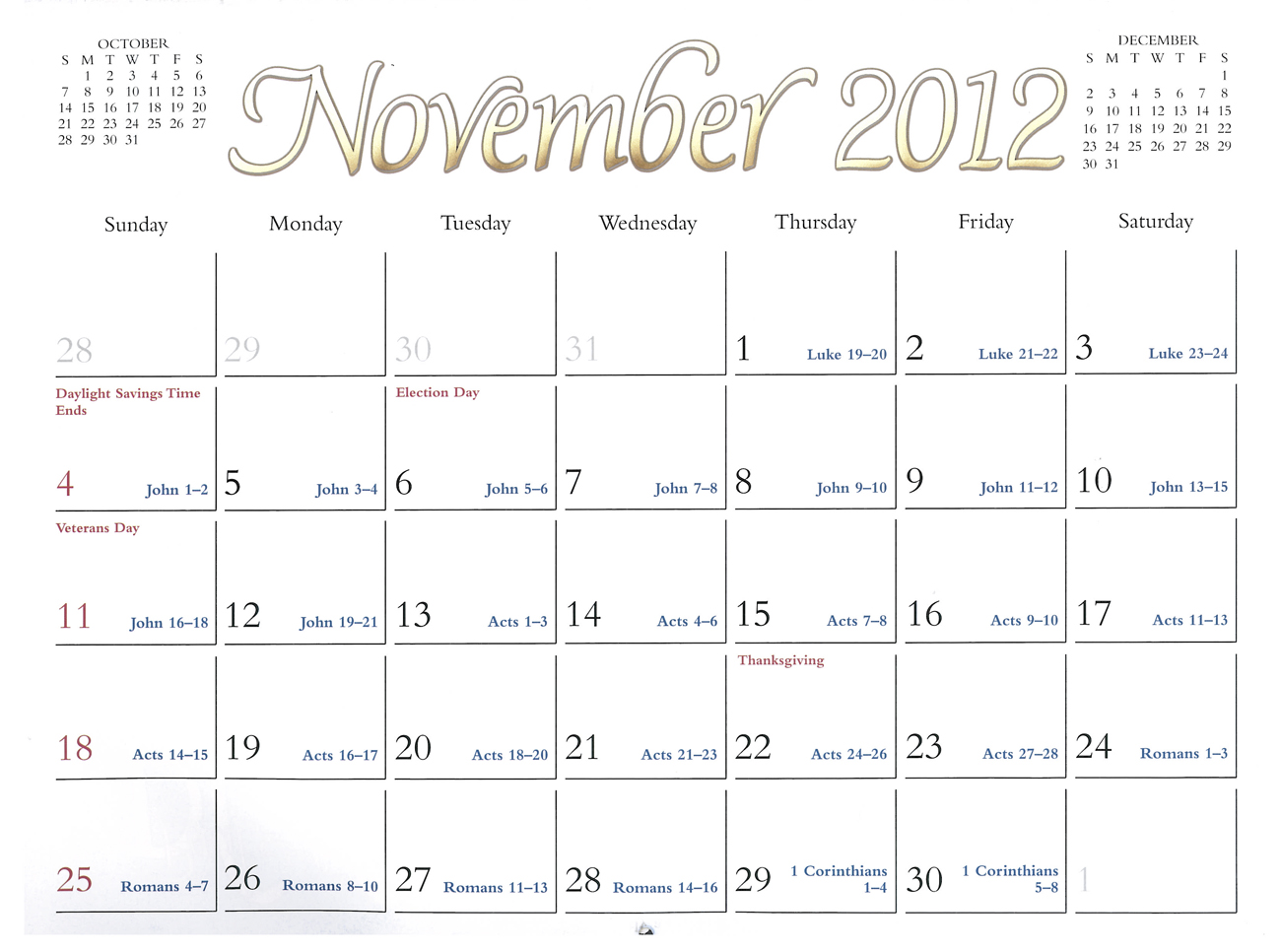 2012 Prophecy Calendar: November - Paul's Letter to Titus
